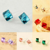Jewelry Gift Hot Stud Earrings Cube Crystal Rhinestone Ear Korean Fashion Women