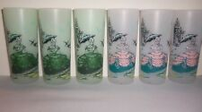 Vintage 1950's era Frosted Glass SOUTHERN BELLE Tumblers (6)