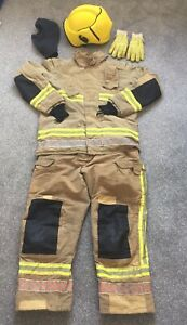 FireFighter Kit Tunic Trousers Cromwell Fire Helmet Flash Hood and Gloves