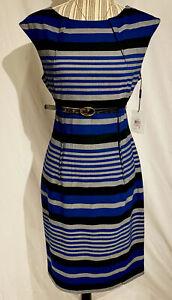Calvin Klein Dress  Twilight Blue Tin Gray Striped Sheath Business Wear U.K. 10
