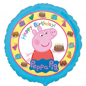 Peppa Pig Happy Birthday Non Message Round 18 Inch Foil Balloon