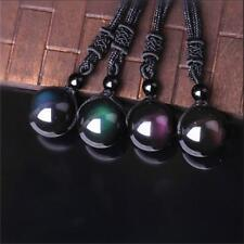Men Black Lucky Amulet Obsidian Pendant Round Ball Necklace