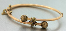 Antique Victorian 1880s 14K Yellow Gold Elegant Ball Rope Bangle Bracelet