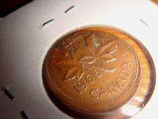 CANADA 1966, 1 Cent Copper Coin, Off-Center Error Strike, Nicely Toned UNC