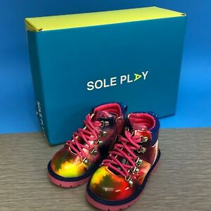 Sole Play Girls Aakil Casual Boots Patent Lace Up Rainbow 4 1/2 M New In Box