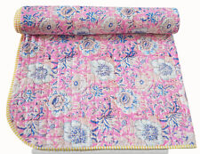 Indian Kantha Baby Quilt Cotton Blanket Printed Toddler Bedspread 40X40 Size New