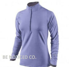 Nike Women's Element Half Zip Long Sleeve Running Shirt XS Purple Gym New