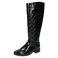 Ladies Spot on Black Patent Quilted Riding Knee High BOOTS With Stirrup F50192 UK 6