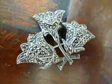 Beautiful Retro Real Silver & Marcasite Vintage Flower Lily sprig brooch 1950s