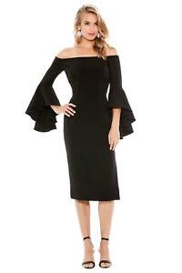 Milly -  Cady Selena Slit Dress | Black Bell Sleeve Midi | Size 8 | RRP $675