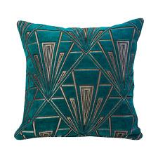 Art Deco Cushion. Luxury Velvet Chenille. Silver and Teal Blue Geometric Design.