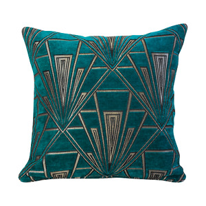 Art Deco Cushion. Luxury Velvet Chenille. Silver and Teal Blue Geometric Design.
