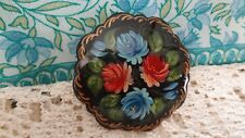 signed Russian vintage handcrafted laquered  floral design brooch pin