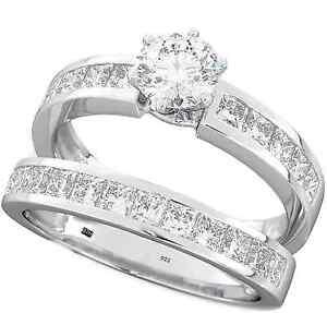 2.29 ct 925 Silver Ladies 2 piece Wedding Engagement Round Cut Bridal Ring Set