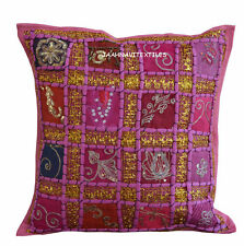 "INDIAN HANDMADE ZARI WORK 16X16"" COTTON CUSHION COVER ETHNIC HOME DECOR ART mna"