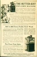 Advertising The Butter-Kist Pop-Corn Machine Mahogany Oak or Ivory Cabinet 1915