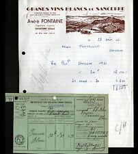 """SANCERRE (18) GRANDS VINS BLANCS """"André FONTAINE Propriétaire Vigneron"""" en 1961"""