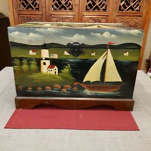 """Hand Painted Sailboat Lighthouse Scenery Wooden Storage Chest Box Trunk 19 x 13"""""""