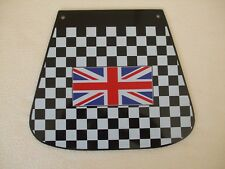 VESPA  BLACK AND WHITE CHECK MUDFLAP WITH UNION FLAG  LOGO