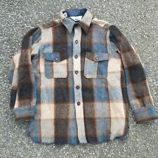 Vintage 60s 70s Woolrich Woolmark Plaid Flannel Jacket Shirt Button Up Grunge
