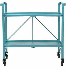 Cosco Intellifit Outdoor / Indoor Folding Serving Cart W/ 2 Slatted Shelves Blue