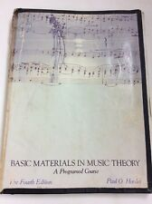 Basic Materials in Music Theory : A Programmed Course Paul Harder 1978 Pprbk 84E