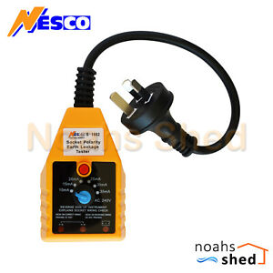 NESCO RCD Tester AC 240V Power Point GPO Safety Polarity Earth Leakage Australia