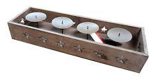 Kerzenleiste Kerzenhalter Advent für 4 Kerzen 53cm mit Sternen Shabby-Chic Deko