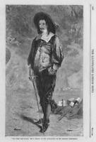 1864 Antique FINE ART Print - Artist John Pettie Time and Place Swordsman (205)