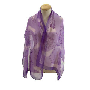 STYLE PARIS FLORAL PURPLE LONG POLYESTER Silk Scarf 62/20  In #A67
