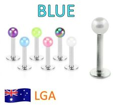 1 x Monroe Blue Luminous Ball Top Monroe 16g Lip Labret Body Jewellery Free Post