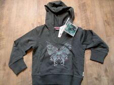 MEXX schönes Kapuzensweat Hoodie Schmetterling grüngrau Gr. 98/104 NEU ST817