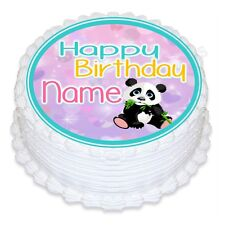 ND3 Panda Bear cute Birthday personalised round cake topper icing