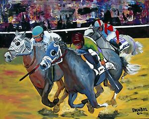 HORSE RACING Belmont Stakes Creator Original Art PAINTING DAN BYL Huge 4ft x 5ft