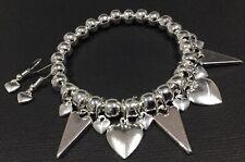 Silver LOVE HEART Charm Chunky Beads Stretch bracelet Boho Bijoux Free Earrings