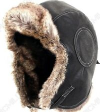Black Airman Leather Ushanka - Winter Russian Hat Ski Fur Pilot Military  Army e26326e7d1d6