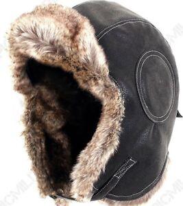 Black Pilot Leather Ushanka - Russian Winter Fur Cap - Military Army Ski Cap