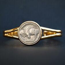 US 1913-38 Indian Head Buffalo Nickel Coin Gold Plated Cuff  Bracelet NEW