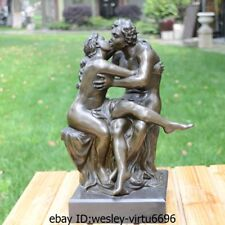 Western Bronze Marble Sweethearts Kiss By Roddan Naked Art Deco Sculpture Statue