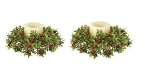 """Green and Red Glitter Tealeaf Berry 9"""" Wide Pillar Votive Candle Ring Set of 2"""