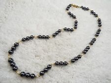 Rice Pearl Necklace (A23) Goldtone, Hematite & Cultured Freshwater