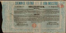SWITZERLAND / RAILWAY 1858 : Chemin de Fer par le Jura Industriel old bond cert.