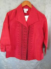 NEW Coldwater Creek Silk Blouse Size Medium Embroidered Dressy Top NWT