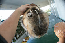 Badger hat w/ leather bill fits up to xxxlrg. trapper tanned fur hide/skin/pelt.