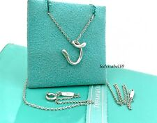 "Tiffany & Co. Silver Peretti Letter V Initial Charm 16"" Necklace w/  Box 20812F"