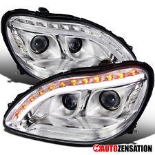 Benz 98-06 W220 S-Class Chrome Projector Headlights w/ LED DRL Strip Turn Signal