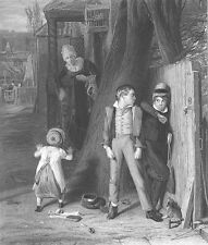 MEAN SCHOOL KID BULLIES BROTHER & SISTER ~ Old Antique 1856 Art Print Engraving