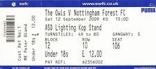 Ticket - Sheffield Wednesday v Nottingham Forest 12.09.09