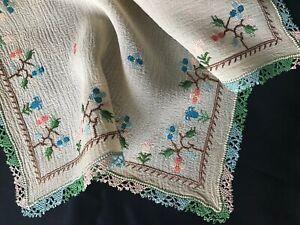 Antique Silk Pocket Handkerchief or Doily Hand Needlelace & Petit Point