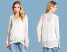 Living Doll SIZE S Crochet Lace Inset 'Latte' Tunic Peasant Top/Shirt, New $38
